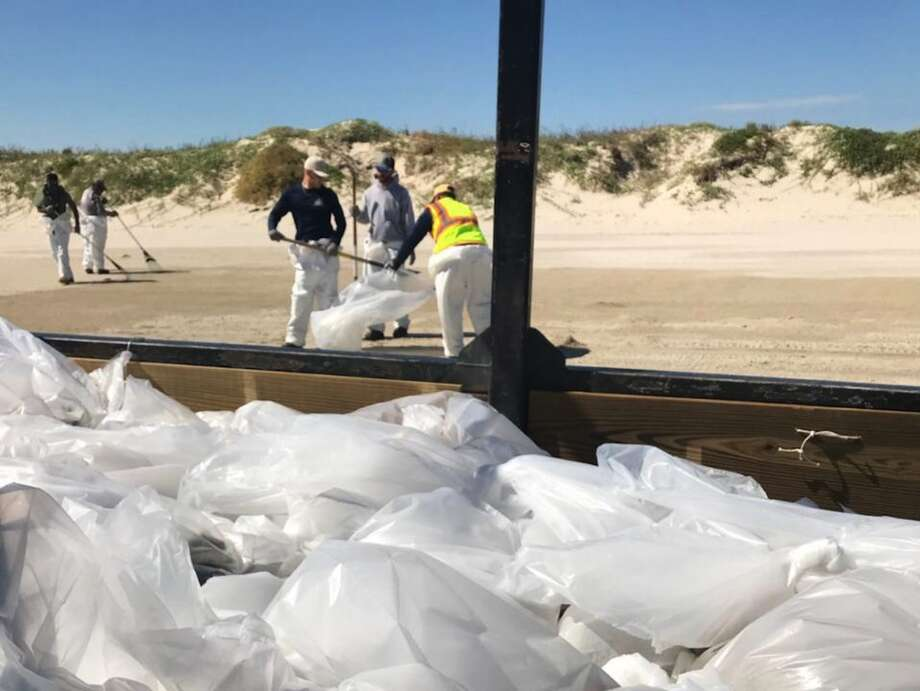 The Coast Guard, Texas General Land Office, and Bouchard Transportation representatives continue to respond to an oil discharge from a barge three miles off the jetties of Port Aransas.