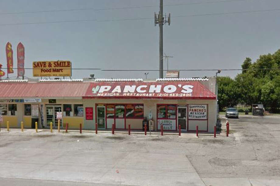 Pancho's Mexican Restaurant: 1005 Old Hwy 90 W., San Antonio, Texas 78237Date: 10/24/2017 Score: 66Highlights: Foods stored in refrigeration unit not protected from cross contamination; mold buildup seen in the ice machine; employees did not wash hands after bare-hand contact with ready-to-eat foods; multi-purpose cleaner and bottle of medicine seen above table where tortillas are made; no paper towels or soap seen at hand washing sink in the kitchen. Photo: Google Street View/Maps