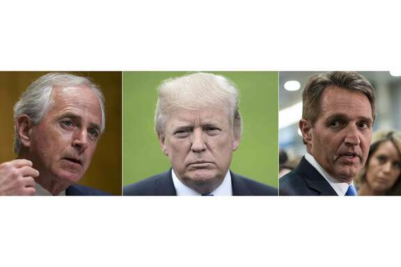 "(COMBO; L to R) This combination of pictures created in Washington on October 25, 2017 shows Tenesse Republican Senator Bob Corker, US President Donald Trump and US Republican Senator from Arizona Jeff Flake.  President Donald Trump hit back at critics within his own Republican party a day after Republican senators Jeff Flake and Bob Corker described Trump as having a ""flagrant disregard"" for truth and decency and of ""debasing"" the nation. Trying to forestall a wider party backlash, Trump said Flake and Corker had decided to resign from politics because they could not be reelected.  / AFP PHOTOZACH GIBSON,BRENDAN SMIALOWSKI,NICHOLAS KAMM/AFP/Getty Images"