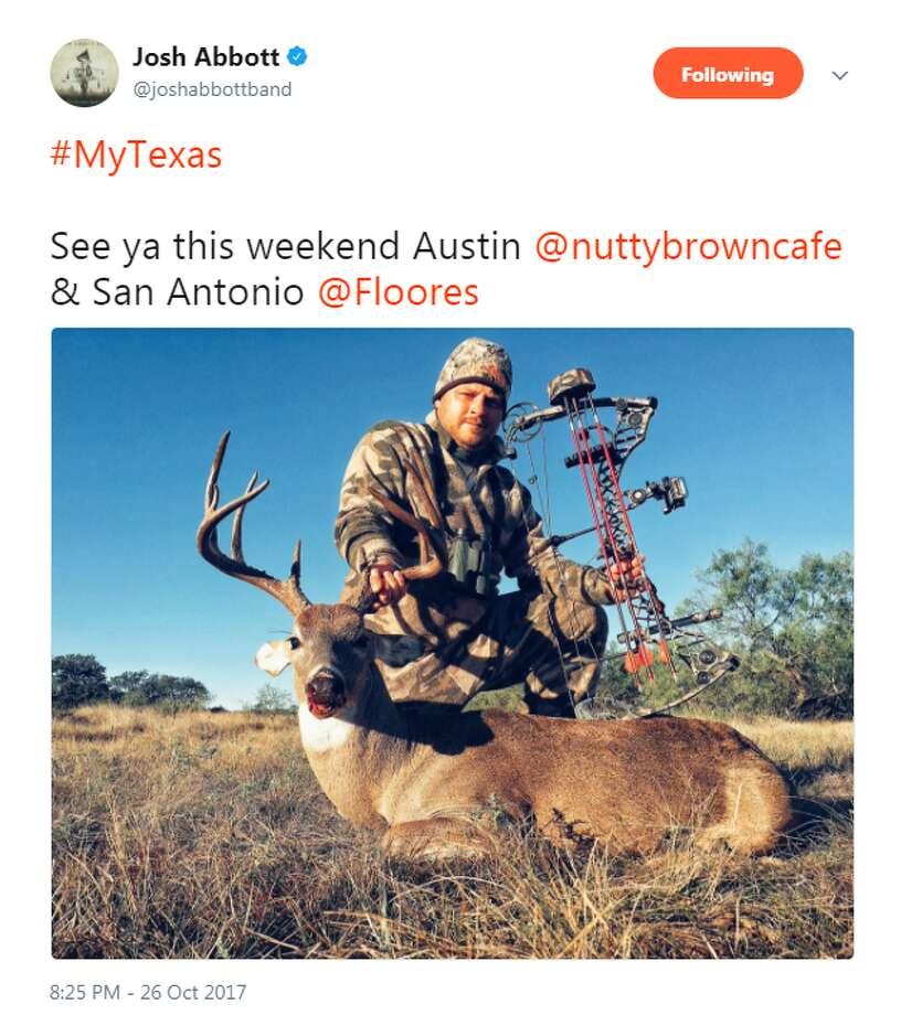"""#MyTexas  See ya this weekend Austin @nuttybrowncafe & San Antonio @Floores,"" @joshabbottband."