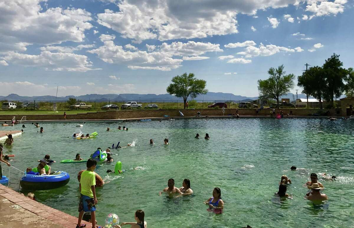 The clear blue water of the pool at Balmorhea State Park is spring fed and reaches a depth of 25 feet.