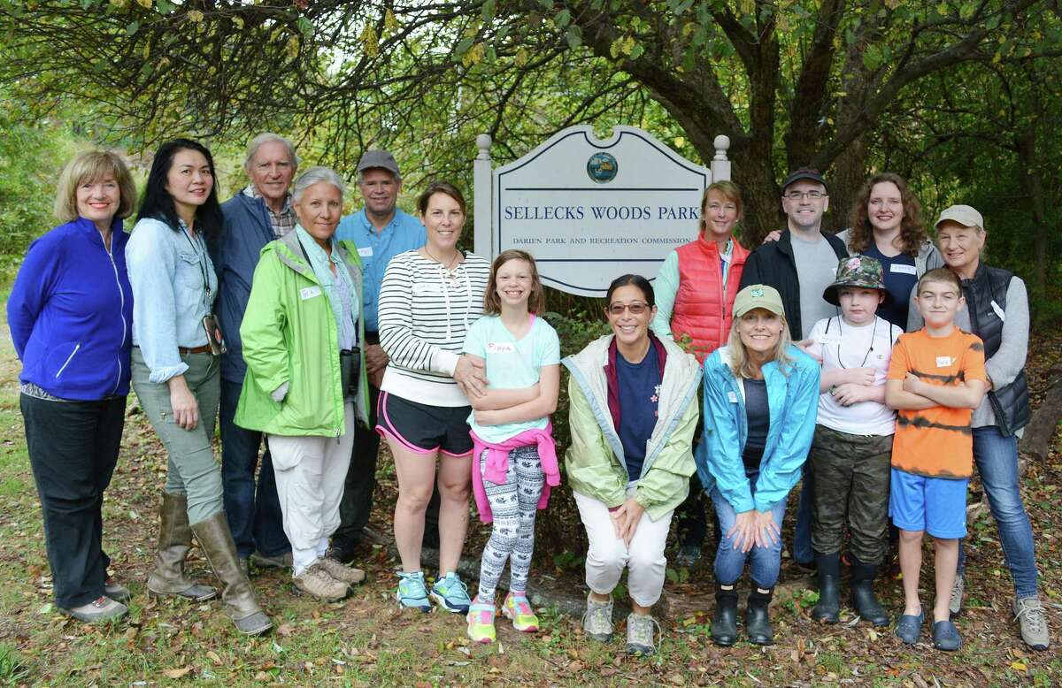 Participants learn about forest bathing during the the Tree Conservancy of Darien?'s Oct. 14 Shinrin-Yoku walk in Selleck?'s Woods.