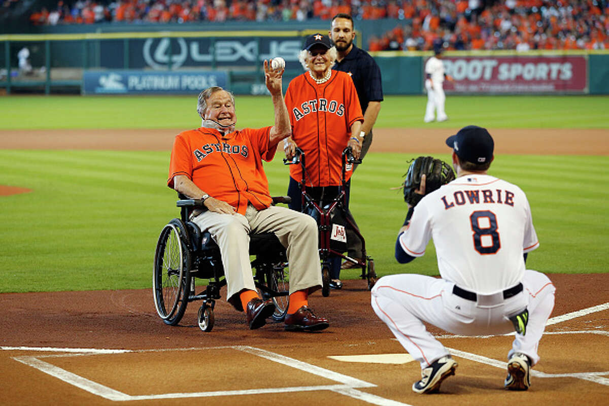 George H.W. Bush The former president did not let his age stop him from throwing out the ceremonial first pitch in 2015. (Photo by Bob Levey/Getty Images)