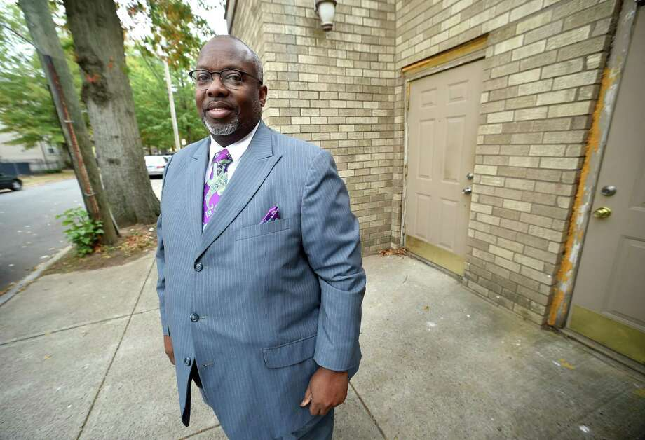 Pastor Roger Wilkins, new president of the Greater New Haven Clergy Association, is photographed outside of the Maranatha Life Changing Ministries on Hazel Street in New Haven on Oct. 24. Photo: Arnold Gold / Hearst Connecticut Media / New Haven Register