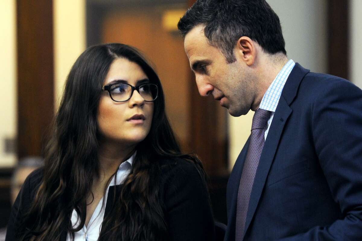 Nikki Yovino, seen here with her attorney Mark Sherman in Bridgeport Superior Court in March. Yovino. a former Sacred Heart University student, accused of making up rape allegations against two football players, was denied a pretrial probation program Friday.