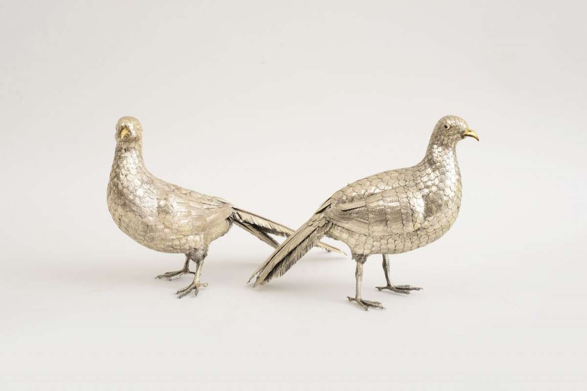 Sterling-silver pheasants are among the items in an auction being held Oct. 28-29 at the Stair Galleries in Hudson. (image from stairgalleries.com)