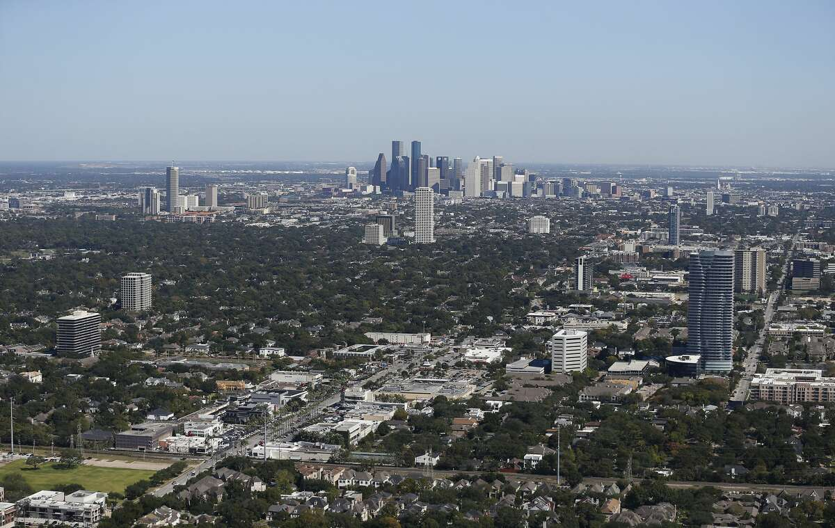 PHOTOS: Exploring the Williams Tower  A view of downtown from a the Williams Tower Wednesday, Oct. 25, 2017, in Houston. See more photos from inside and out of the Williams Tower, the giant of the Galleria area...