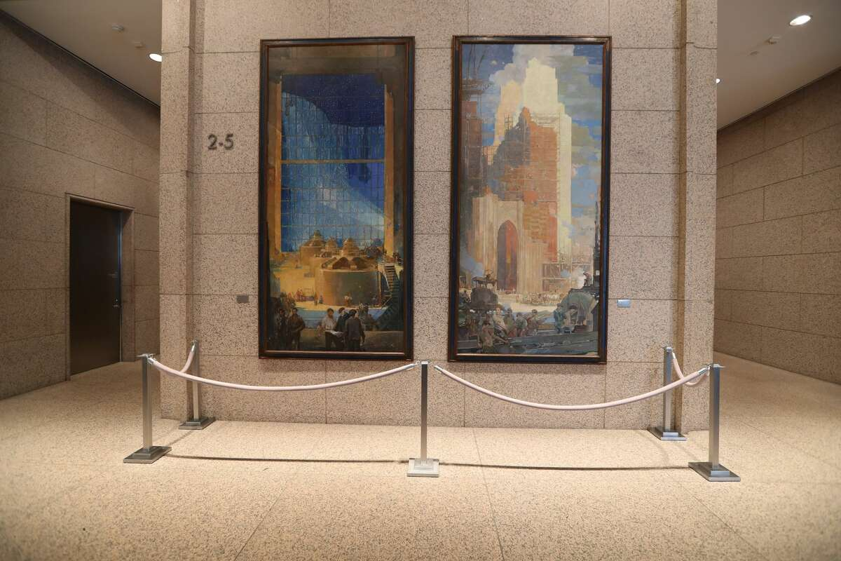 Two large murals are in the lobby of the Williams Tower Wednesday, Oct. 25, 2017, in Houston. ( Steve Gonzales / Houston Chronicle )