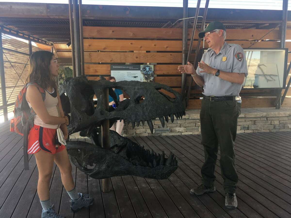 Big Bend National Park geologist Don Corrick (right) explains the replica T. Rex skull on display at the Fossil Discovery Exhibit to Texas State student Cassandria Alvarado.