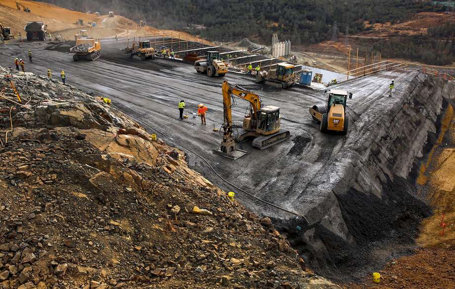 Layers of compacted concrete have been laid under the spillway during the reconstruction to strengthen the dam. Photo: Michael Macor, The Chronicle