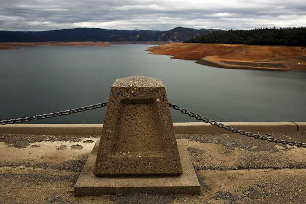 Lake Oroville water levels are lowered for the upcoming rainy season, as the construction and repairs of the main spillway continue in Oroville Dam, in Oroville, Ca. on Thursday October 19, 2017.