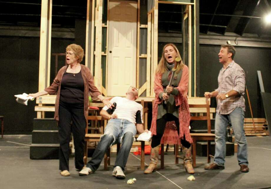 """Noises Off"" is on stage at Brookfield Theatre for the Arts Nov. 3 through Nov. 19. Rehearsing are Jody Bayer, left, Tony Bosco-Schmidt, Priscilla Squiers and Duane Lanham. Photo: Brookfield Theatre / Contributed Photo"