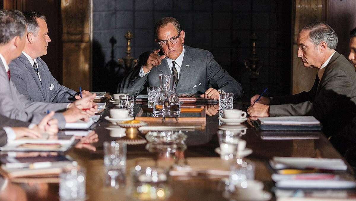"""A scene from Rob Reiner's """"LBJ,"""" with Woody Harrelson as Lyndon B. Johnson."""