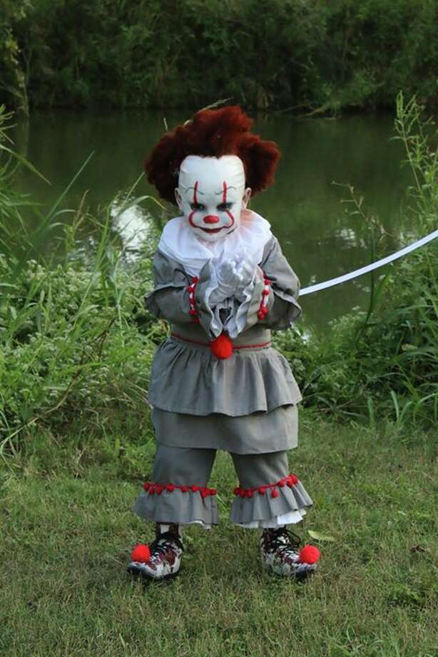 Darlene Chavez, mother of pint-size Pennywise Emmett Negrete, said her son found a YouTube video of It and asked her to dress as him for Halloween. Photo: Courtesy, Claudia Negrete-Medina