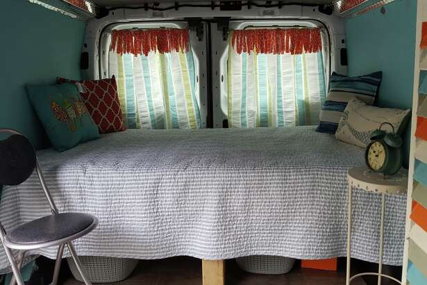 Here's the inside of Joan's camper van. She fixed it up inside for just $300 with the help of her grandson.