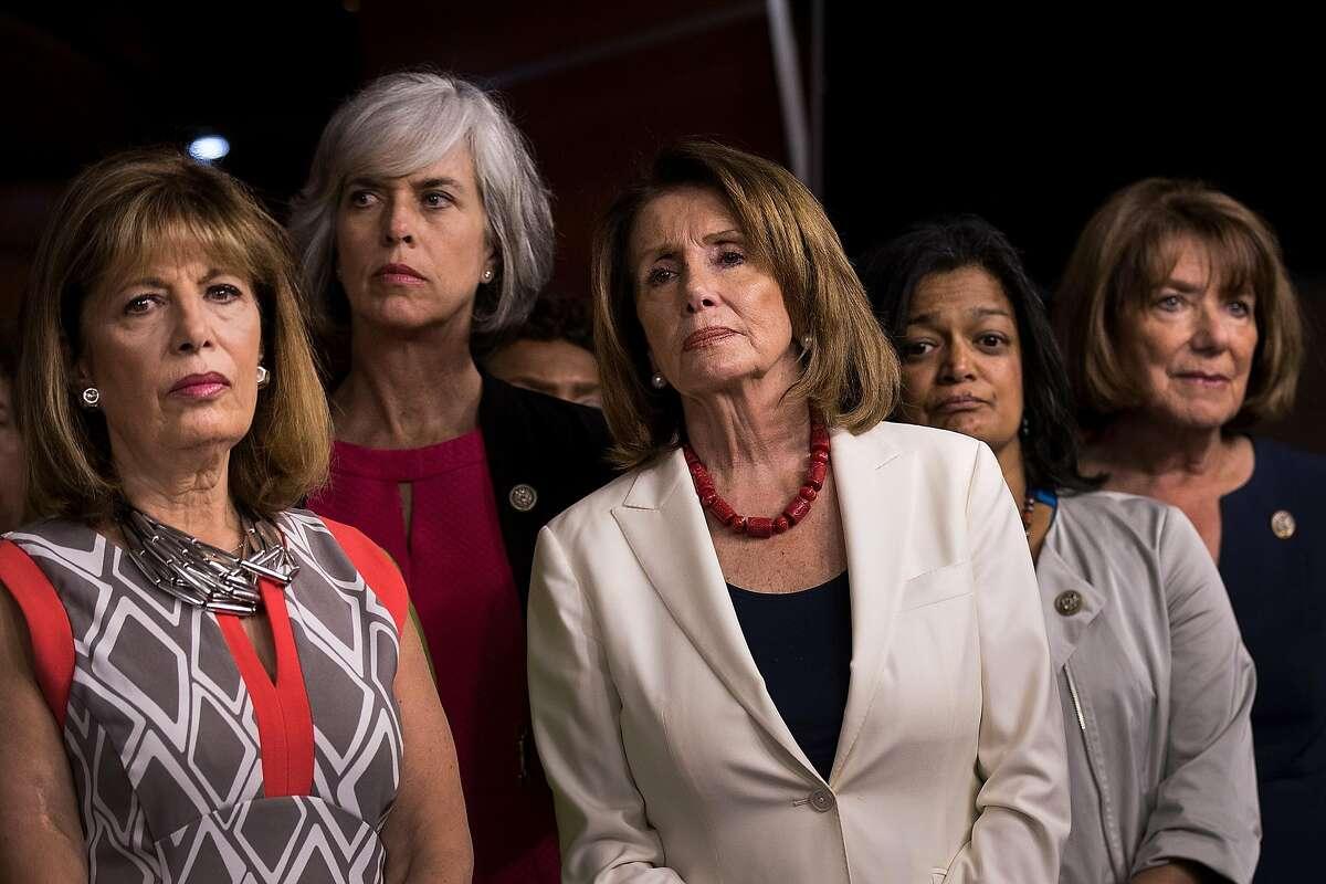 WASHINGTON, DC - JUNE 29: (L -R) U.S. Reps. Jackie Speier (D-CA) and Katherine Clark (D-CT), Minority Leader Nancy Pelosi (D-CA), Rep. Pramila Jayapal (D-WA) and Rep. Susan Davis (D-CA) look on during a press conference condemning President Donald Trump's