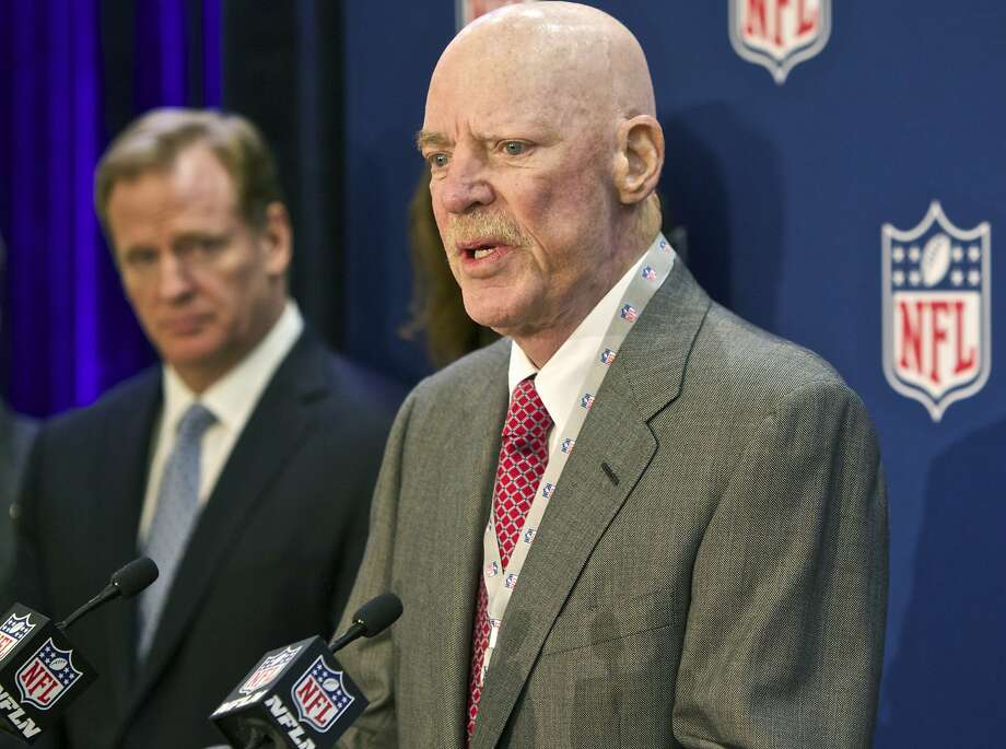 """FILE -In this Dec. 10, 2014 file photo Houston Texans owner Bob McNair speaks at an NFL press conference during an owners meeting, in Irving, Texas. At left is NFL commissioner Roger Goodell. McNair has apologized after a report said he declared """"we can't have the inmates running the prison"""" during a meeting of NFL owners over what to do about players who kneel in protest during the national anthem. Photo: Brandon Wade, Associated Press"""