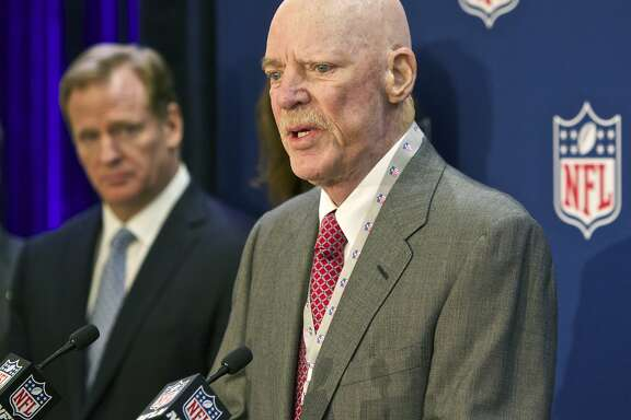 "FILE -In this Dec. 10, 2014 file photo Houston Texans owner Bob McNair speaks at an NFL press conference during an owners meeting, in Irving, Texas. At left is NFL commissioner Roger Goodell. McNair has apologized after a report said he declared ""we can't have the inmates running the prison"" during a meeting of NFL owners over what to do about players who kneel in protest during the national anthem.  (AP Photo/Brandon Wade, File)"