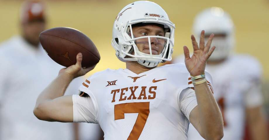 Texas quarterback Shane Buechele throws before an NCAA college football game, Thursday, Sept. 28, 2017, in Ames, Iowa. (AP Photo/Charlie Neibergall) Photo: Charlie Neibergall/Associated Press