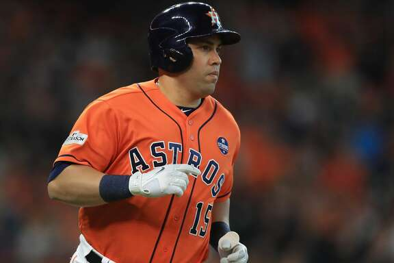 HOUSTON, TX - OCTOBER 06:  Carlos Beltran #15 of the Houston Astros runs after hitting a single in the eighth inning against the Boston Red Sox during game two of the American League Division Series at Minute Maid Park on October 6, 2017 in Houston, Texas.  (Photo by Ronald Martinez/Getty Images)