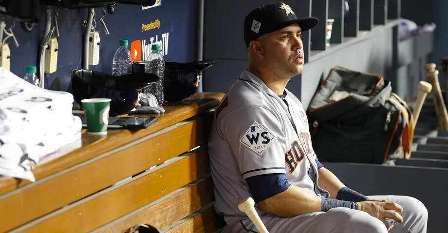 Houston Astros designated hitter Carlos Beltran (15) sits in the dugout during the seventh inning of Game 1 of the World Series at Dodger Stadium on Tuesday, Oct. 24, 2017, in Los Angeles. ( Karen Warren  / Houston Chronicle ) Photo: Karen Warren/Houston Chronicle