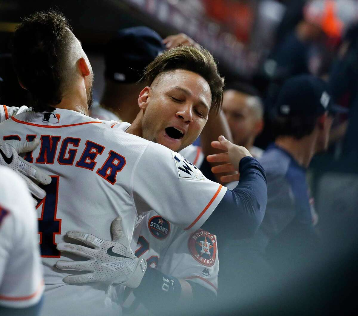 Houston Astros first baseman Yuli Gurriel (10) celebrates his solo home run in the second inning of Game 3 of the World Series at Minute Maid Park with George Springer on Friday, Oct. 27, 2017, in Houston.