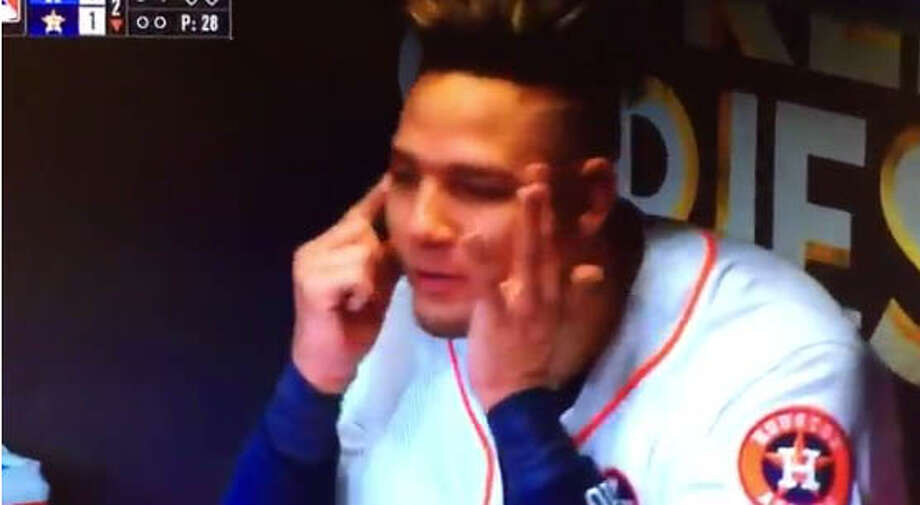 After hitting a home run in the second inning off Yu Darvish in Game 3 of the World Series Friday, the Astros' Yuli Gurriel appeared to mock Darvish in the dugout. Photo: Twitter
