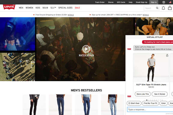 This image provided by Levi Strauss & Co. shows the company's Virtual Stylist which texts back and forth with online customers to offer recommendations, based on their preferences. Marc Rosen, Levi's president of global e-commerce, says early tests show the chatbot is driving more browsers to become buyers. (Courtesy of Levi Strauss & Co. via AP)