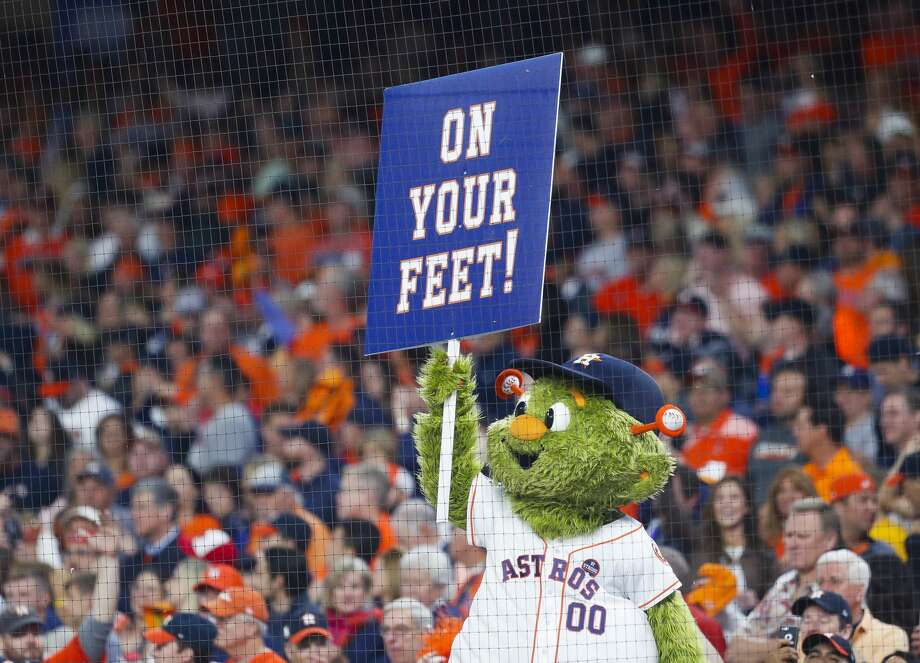 Orbit cheers during the seventh inning of Game 3 of the World Series at Minute Maid Park on Friday, Oct. 27, 2017, in Houston. Photo: Brett Coomer/Houston Chronicle
