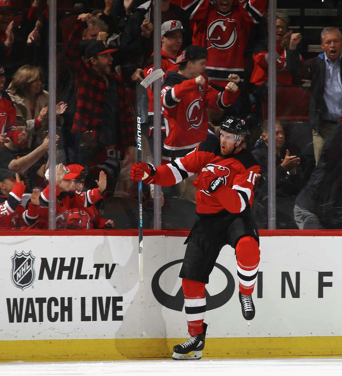NEWARK, NJ - OCTOBER 27: Jimmy Hayes #10 of the New Jersey Devils celebrates his first period goal against the Ottawa Senators at the Prudential Center on October 27, 2017 in Newark, New Jersey. (Photo by Bruce Bennett/Getty Images) ORG XMIT: 775040705