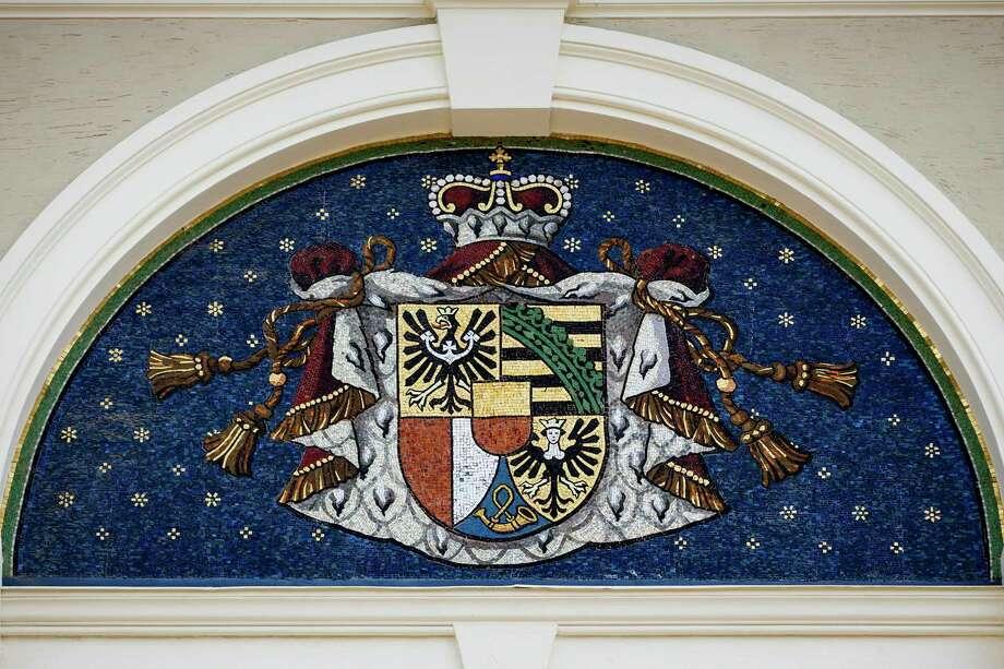 A mosaic of Liechtenstein's coat of arms on the government building in Vaduz, Liechtenstein, on May 20, 2013. Photo: Bloomberg Photo By Valentin Flauraud. / 2013 Bloomberg Finance LP