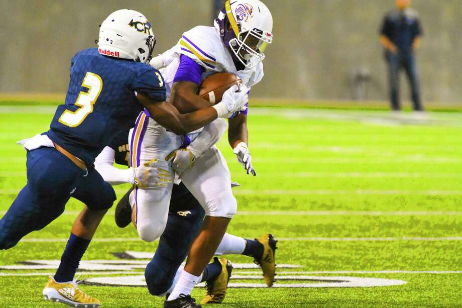 Jersey Village's Jordan Jones, shown making a play against Cy Ranch, turned in 10 catches for 111 yards and a touchdown in the Falcons' 24-23 win over District 17-6A rival Cypress Falls. Photo: Tony Gaines/ HCN, Photographer