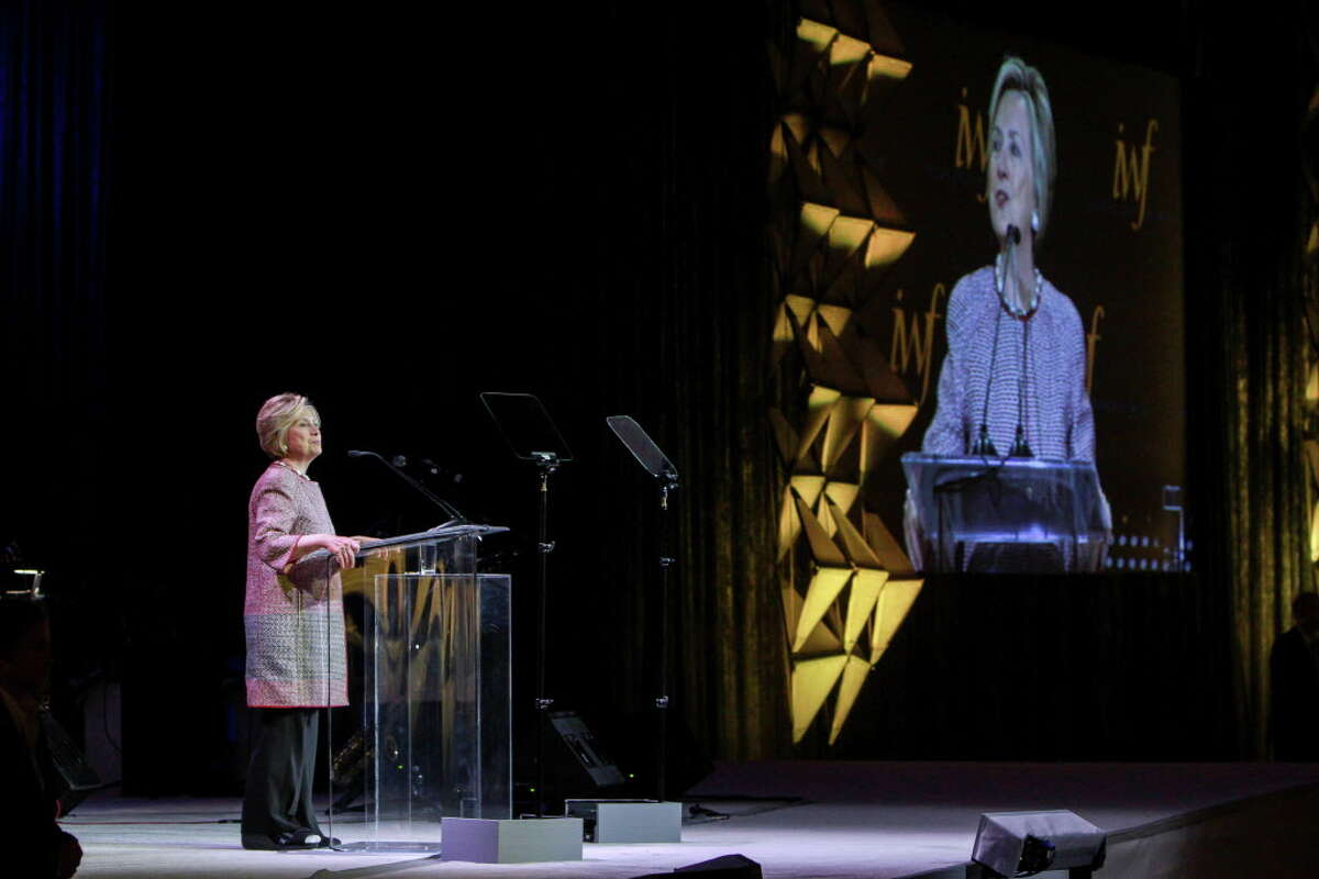 Hillary Rodham Clinton speaking at the International Women's Conference gala. (For the Chronicle/Gary Fountain, October 27, 2017)
