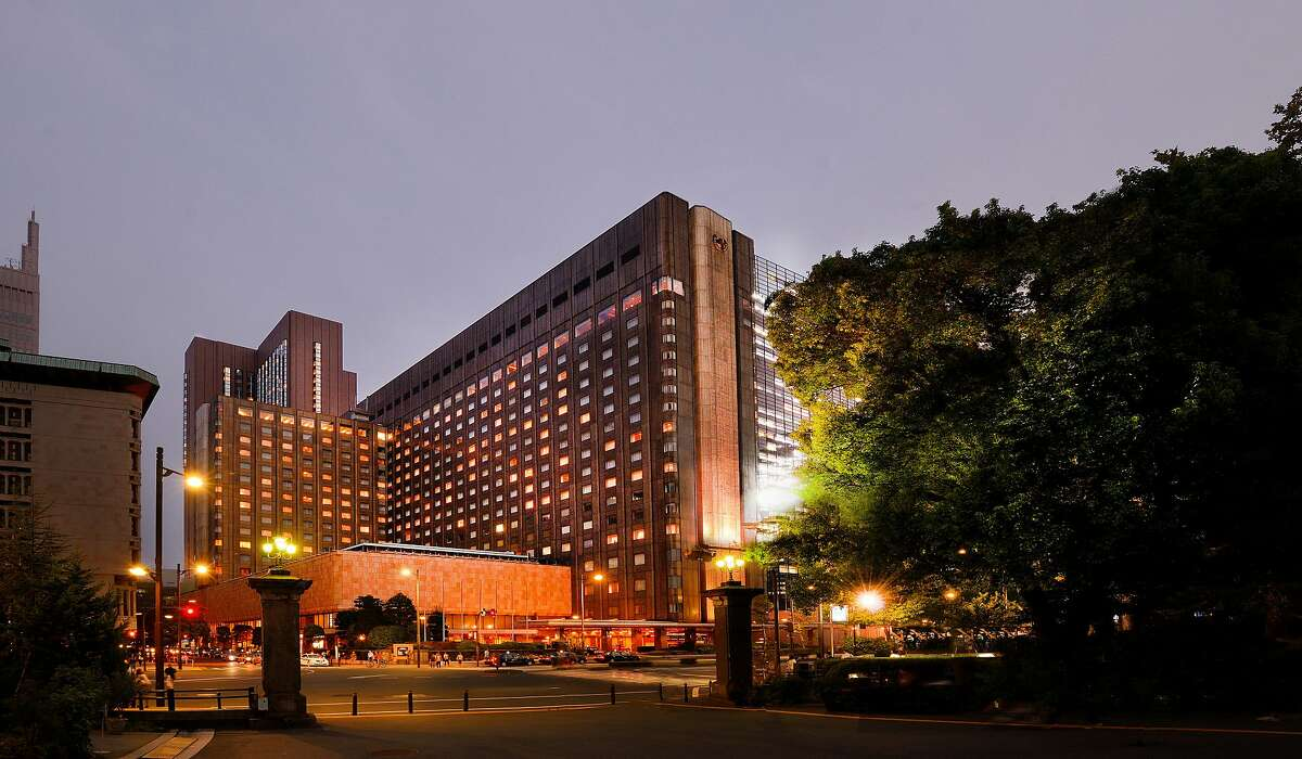 The Imperial Hotel, Tokyo, includes the 17-story Main Building and the 31-story Imperial Tower, as seen from Hibiya Park.