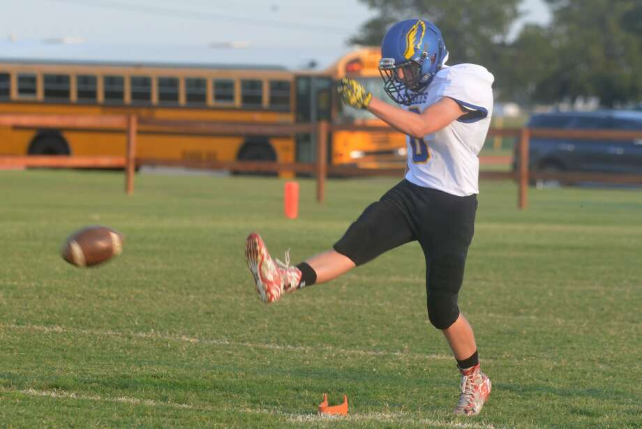 Plainview Christian Academy's Trey Waller kicks off during a football game earlier this season. Waller contributed with his kicking ability Friday night as the Eagles recovered four onside kicks in a 72-26 victory over kingdom Prep. Photo: Skip Leon/Plainview Herald