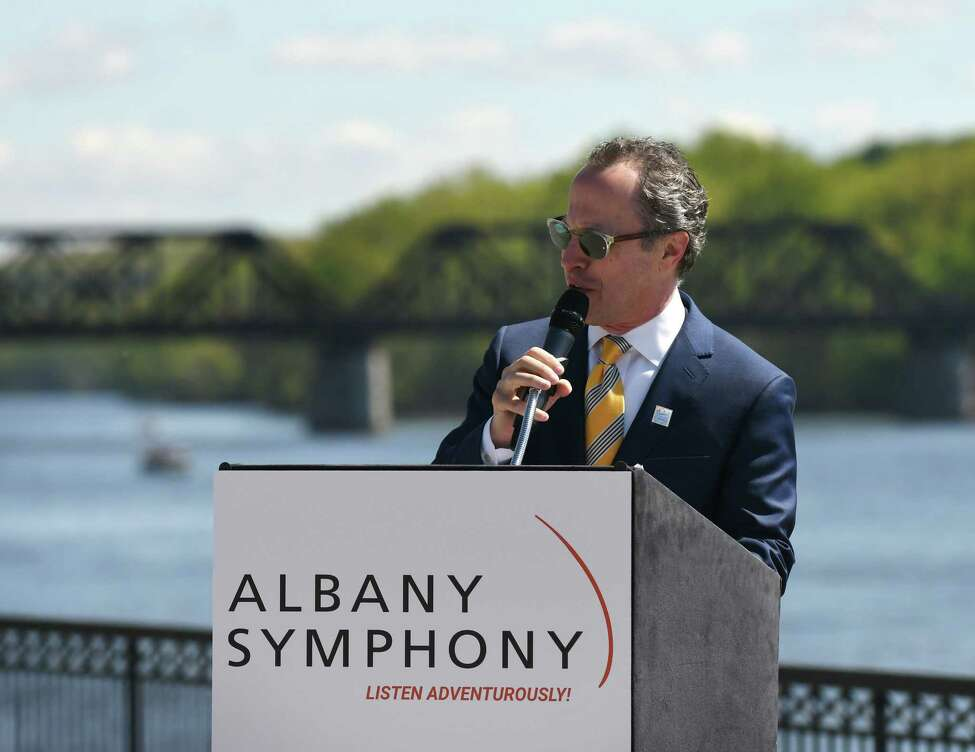 Albany Symphony conductor David Alan Miller speaks during a press conference to announce a seven-stop Erie canal concert performance on May 12. (Will Waldron/Times Union)