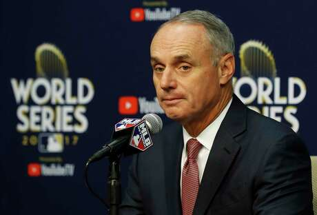 Commissioner Rob Manfred speaks to the media reguarding his decision to suspend Yuli Gurriel for five games at the start of the 2018 season before the start of Game 4 of the World Series at Minute Maid Park on Saturday, Oct. 28, 2017, in Houston.