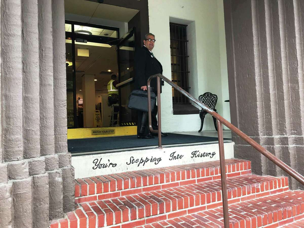 """The Holiday Inn Express N-Riverwalk Area hotel doesn't shy away from its past life as the Bexar County Jail. The steps to the front door greet guests with the legend, """"You're Stepping Into History."""""""