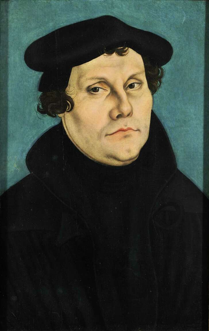 A portrait of Martin Luther by Lucas Cranach the Elder.