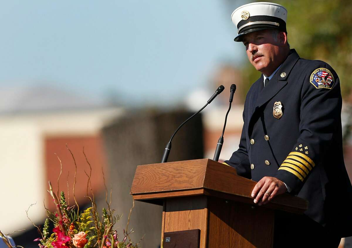 Santa Rosa Fire Chief Tony Gossner delivers a speech during the Sonoma County Day of Remembrance at Santa Rosa Junior College Oct. 28, 2017 in Santa Rosa, Calif. The day memorialized those lives and homes lost in the devastating fires that ripped through the community mere weeks before, killing dozens and destroying thousands of structures, displacing hundreds of people.
