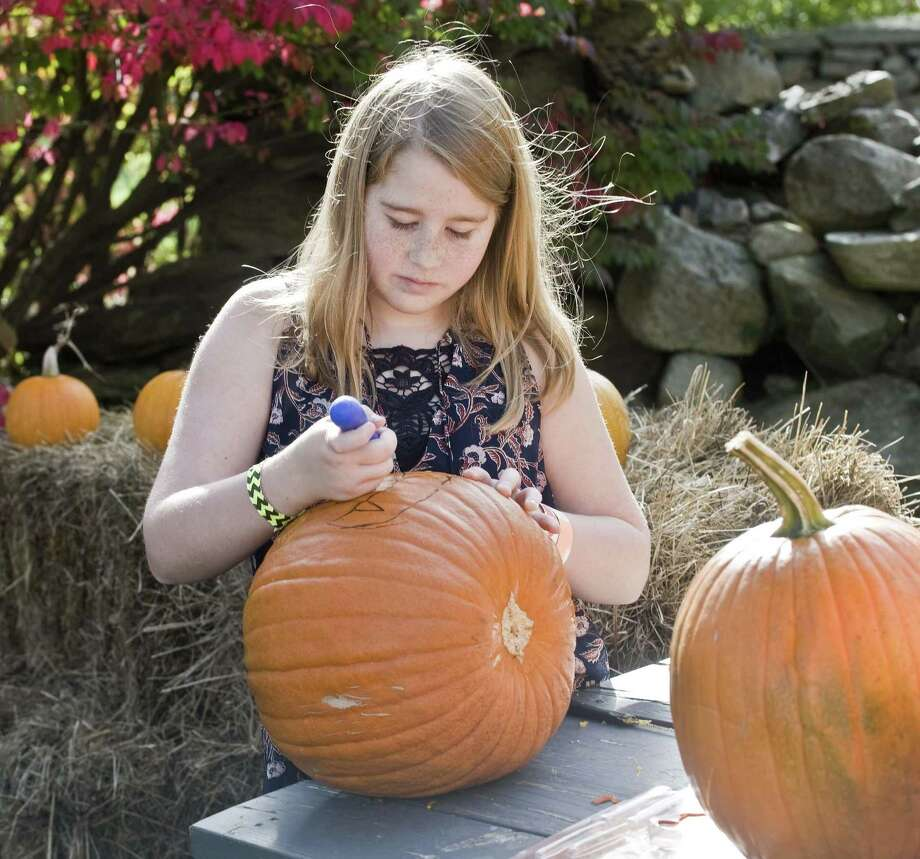 Eleven-year-old Eliana Quesenberry draws a design on her pumpkin at a pumpkin carving event on Hunt Hill Farm in New Milford. Saturday, Oct. 28, 2017 Photo: Scott Mullin / For Hearst Connecticut Media / The News-Times Freelance