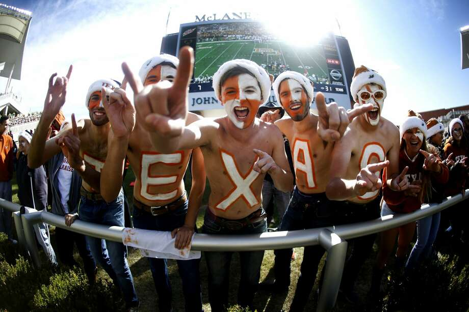 WACO, TX - OCTOBER 28: Texas Longhorns fans celebrate as Texas plays the Baylor Bears in the second half at McLane Stadium on October 28, 2017 in Waco, Texas. Texas won 38-7. (Photo by Ron Jenkins/Getty Images) Photo: Ron Jenkins/Getty Images