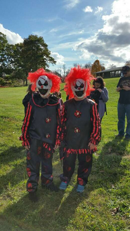 Michael Lambis, 10, and his best friend Gabe Guay, 10, dressed as identical fanged clowns that resembled the clown character in the horror movie It at the 12th annual Spooktacular at Johnnycake Mountain Farm in Burlington on Saturday afternoon. Photo: Nf AMBERY /