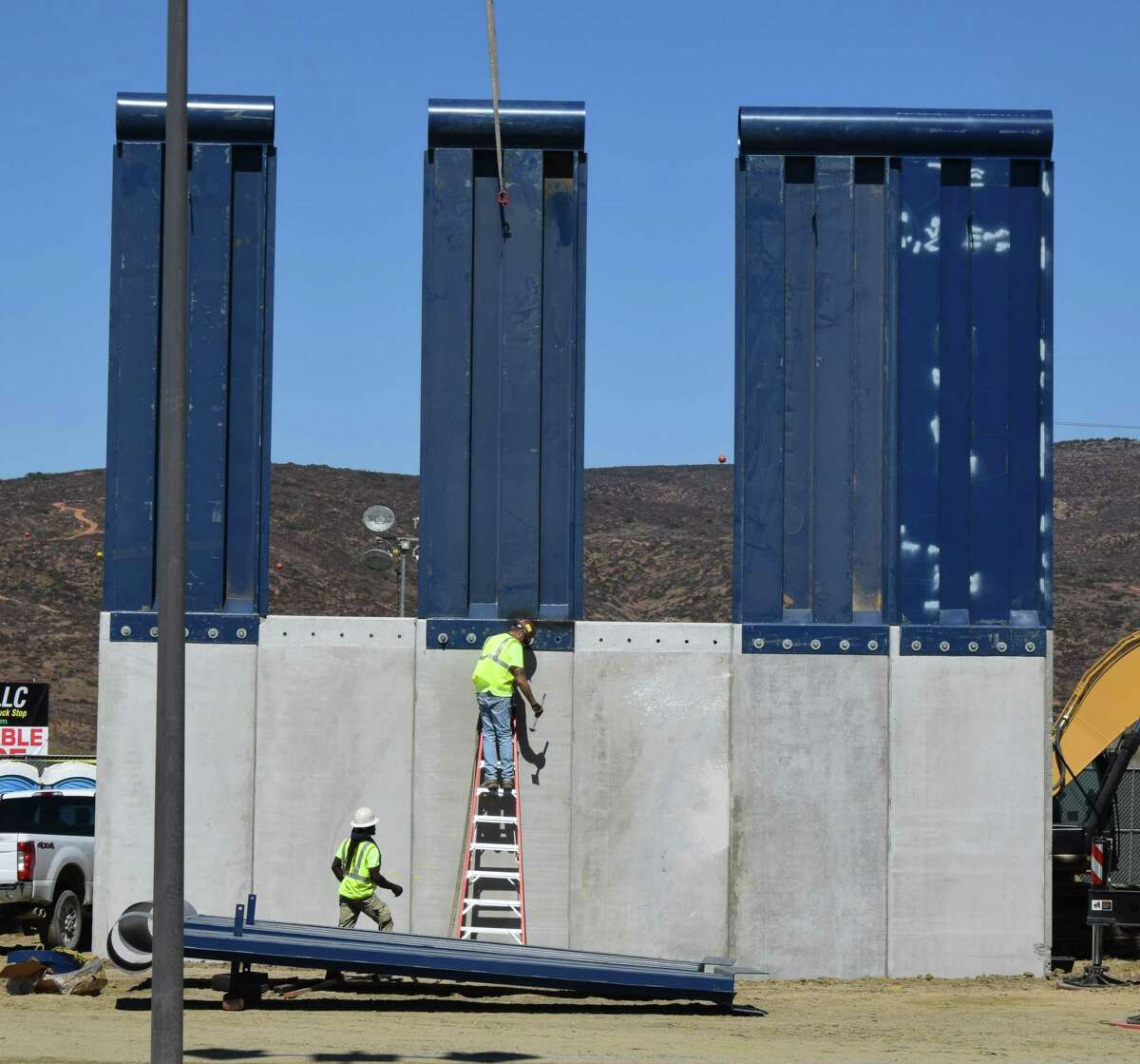 A border wall prototype being constructed near Otay Mesa, California in October which can be seen by crossing into Tijuana, Mexico.