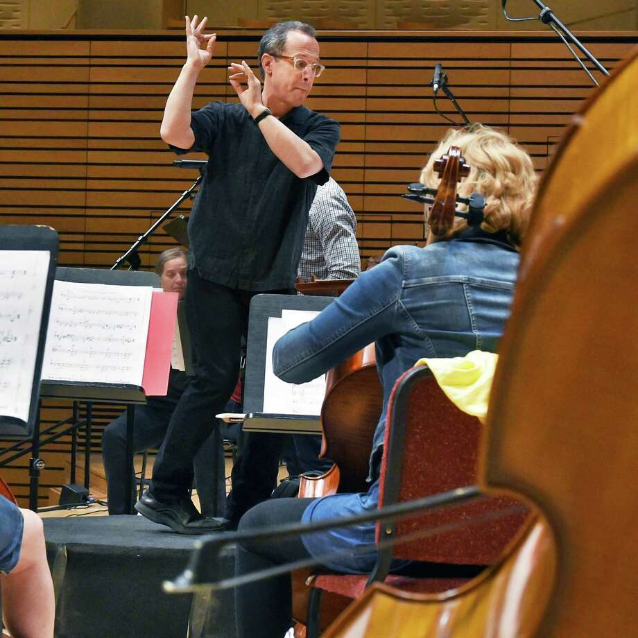 Music Director David Alan Miller rehearses the Albany Symphony Orchestra at RPI's EMPAC for their upcoming weekend American Music Festival Friday June 2, 2017 in Troy, NY.  (John Carl D'Annibale / Times Union) Photo: John Carl D'Annibale / 40040675A