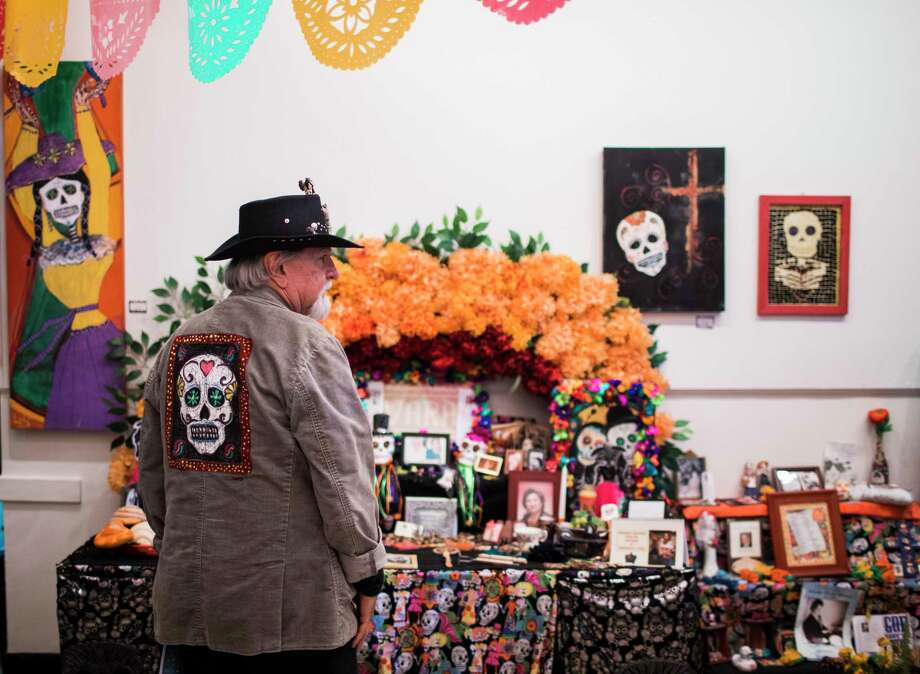 Visual artist, Luis Gavito, wears a jacket with the Dia de los Muertos skull for the Dia de los Muertos Festival, Saturday, Oct. 28, 2017, in Houston. ( Marie D. De Jesus / Houston Chronicle ) Photo: Marie D. De Jesus, Staff / © 2017 Houston Chronicle