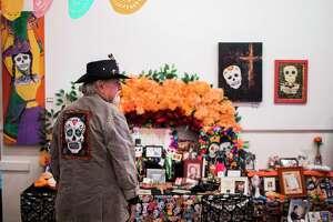Visual artist, Luis Gavito, wears a jacket with the Dia de los Muertos skull for the Dia de los Muertos Festival, Saturday, Oct. 28, 2017, in Houston. ( Marie D. De Jesus / Houston Chronicle )