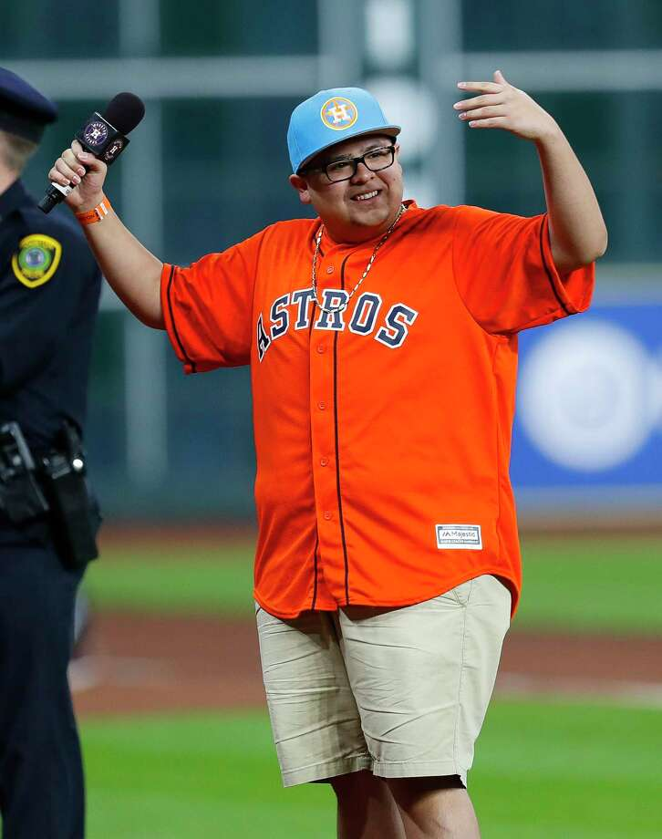 PHOTOS: Rico Rodriguez supporting Houston sports teamActor Rico Rodriguez, who plays Manny Delgado in the sitcom Modern Family, says play ball before Game 4 of the World Series at Minute Maid Park on Saturday, Oct. 28, 2017, in Houston.Browse through the photos above for a look at Rico Rodriguez supporting Houston sports teams at games. Photo: Brett Coomer, Houston Chronicle / © 2017 Houston Chronicle