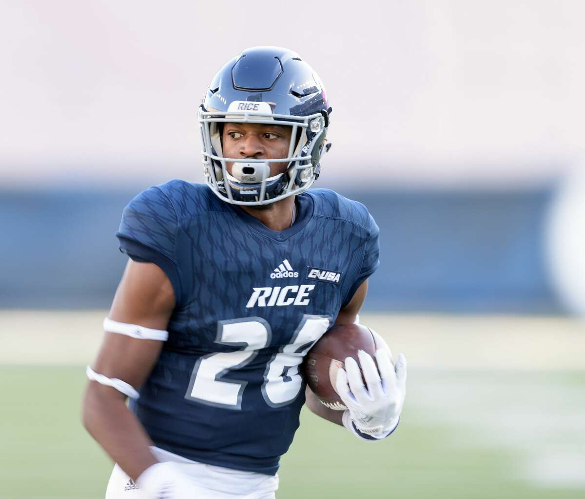 Aaron Cephus (28) of the Rice Owls has a long run for a touchdown after a reception to tie the game 28-28 in the second half against the Louisiana Tech Bulldogs in a Conference USA football game on Saturday, October 28, 2017 at Rice Stadium in Houston Texas.