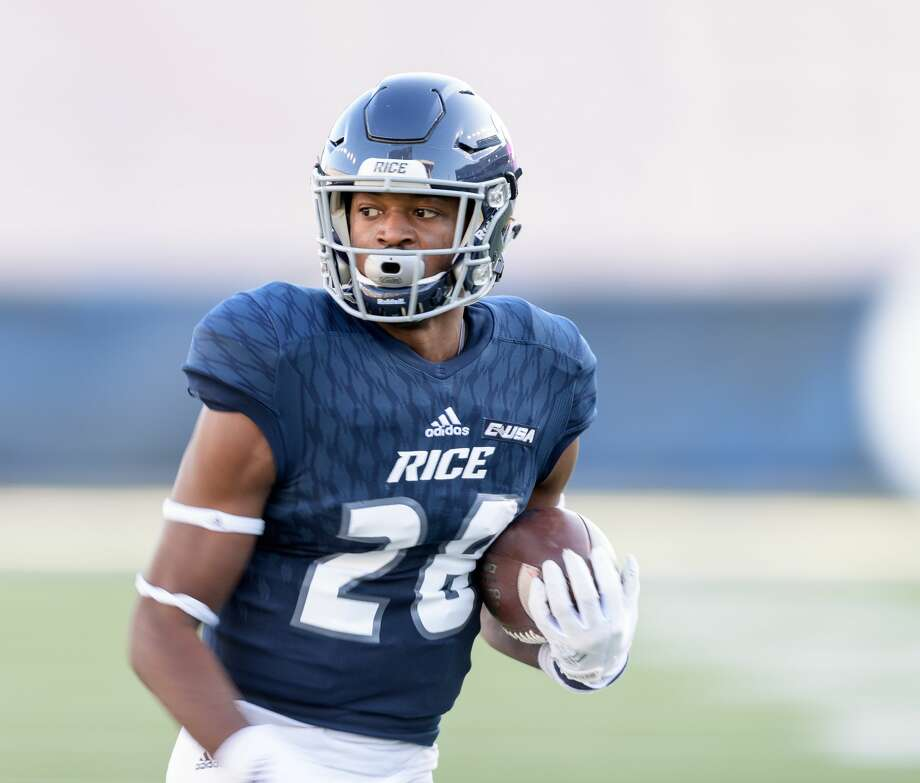 Aaron Cephus (28) of the Rice Owls has a long run for a touchdown after a reception to tie the game 28-28 in the second half against the Louisiana Tech Bulldogs in a Conference USA football game on Saturday, October 28, 2017 at Rice Stadium in Houston Texas. Photo: Wilf Thorne/For The Chronicle